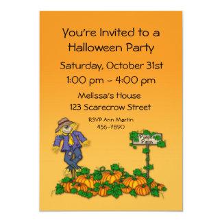 "Scarecrow Pumpkins Halloween Invitation 5"" X 7"" Invitation Card"