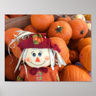 Scarecrow & Pumpkins Poster