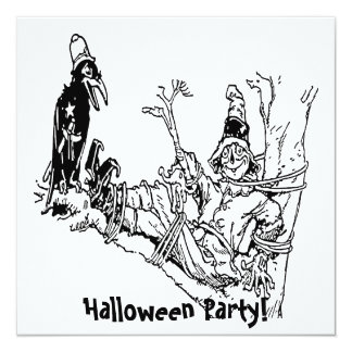 Scarecrow Tied in Tree 13 Cm X 13 Cm Square Invitation Card