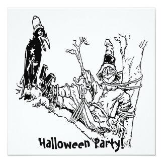 "Scarecrow Tied in Tree 5.25"" Square Invitation Card"