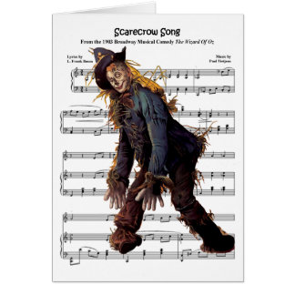 Scarecrow w/Sheet Music Background Greeting Card