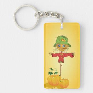 Scarecrow With Pumpkins Keychain