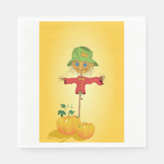 Scarecrow With Pumpkins Paper Napkins
