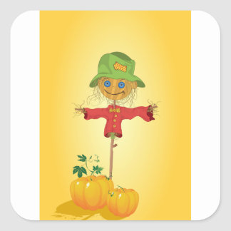 Scarecrow With Pumpkins Stickers