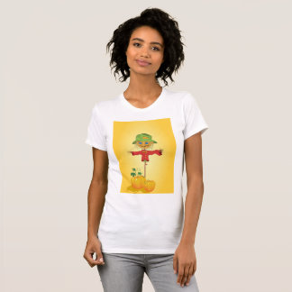 Scarecrow With Pumpkins Womens T-Shirt