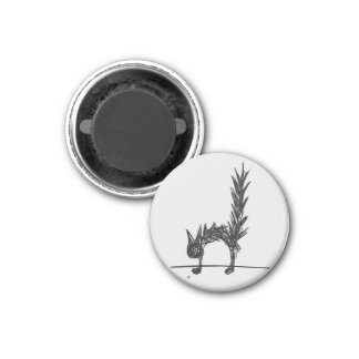 Scared Black Cat 3 Cm Round Magnet