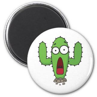 Scared Cactus 6 Cm Round Magnet