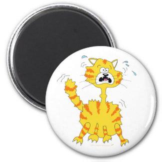 Scared Cartoon Cat Funny 6 Cm Round Magnet
