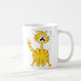 Scared Cartoon Cat Funny Basic White Mug
