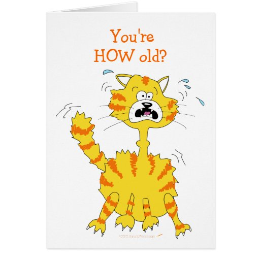 Scared Cartoon Cat Funny Happy Birthday Template Greeting Cards