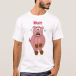 Scared Cartoon Pig BBQ?! Funny Shirt