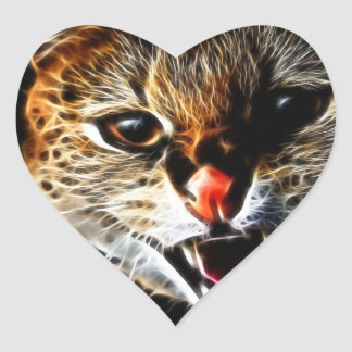 Scared catpainting heart sticker
