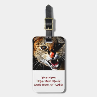 Scared catpainting luggage tag