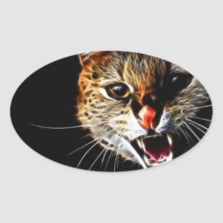 Scared cat painting oval sticker