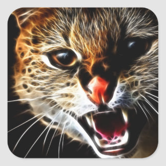 Scared catpainting square sticker