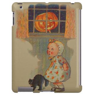 Scared Girl Jack O' Lantern Black Cat Prank iPad Case