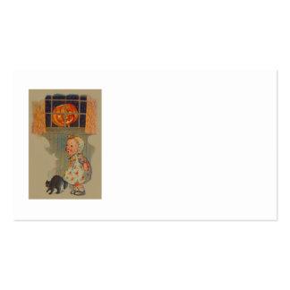 Scared Girl Jack O' Lantern Black Cat Prank Pack Of Standard Business Cards
