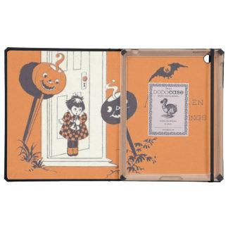Scared Girl Jack O' Lantern Pumpkin Bat iPad Covers