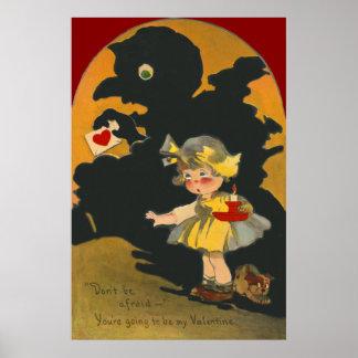 Scared Girl Puppy Dog Monster Valentine Poster