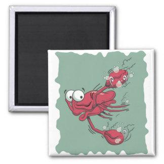 Scared Lobster Square Magnet