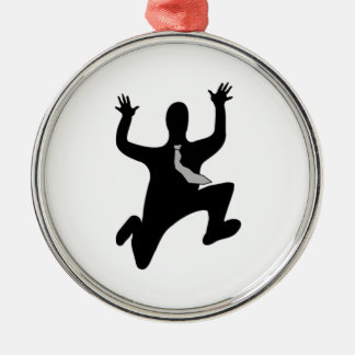 Scared Running Man Silver-Colored Round Decoration