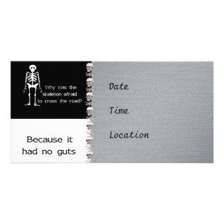 Scared Skeleton Custom Photo Card
