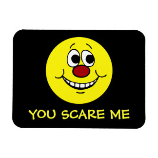 Scared Smiley Face Grumpey Rectangular Photo Magnet
