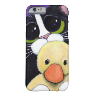 Scared Tuxedo Cat and Cuddly Duck Painting Barely There iPhone 6 Case