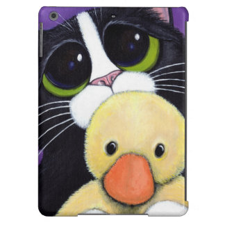 Scared Tuxedo Cat and Cuddly Duck Painting Case For iPad Air