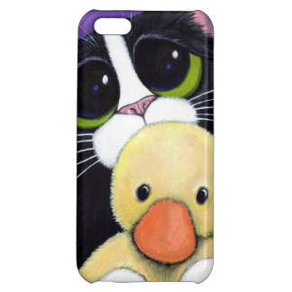 Scared Tuxedo Cat and Cuddly Duck Painting Cover For iPhone 5C
