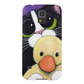 Scared Tuxedo Cat and Cuddly Duck Painting Galaxy S5 Covers