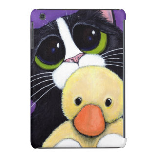 Scared Tuxedo Cat and Cuddly Duck Painting iPad Mini Covers