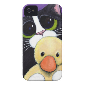 Scared Tuxedo Cat and Cuddly Duck Painting iPhone 4 Case