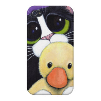 Scared Tuxedo Cat and Cuddly Duck Painting iPhone 4 Covers