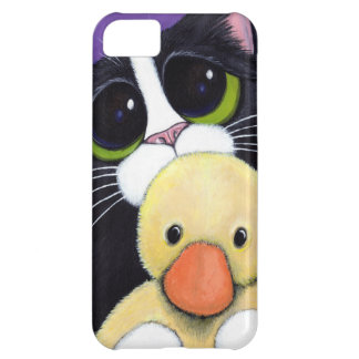 Scared Tuxedo Cat and Cuddly Duck Painting iPhone 5C Case