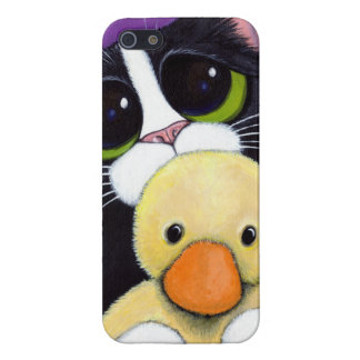 Scared Tuxedo Cat and Cuddly Duck Painting iPhone 5/5S Cases