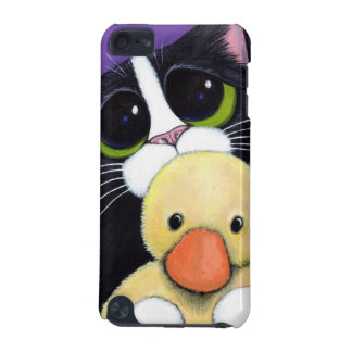 Scared Tuxedo Cat and Cuddly Duck Painting iPod Touch 5G Covers