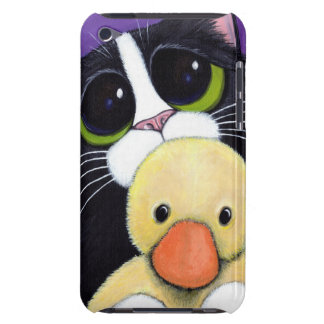 Scared Tuxedo Cat and Cuddly Duck Painting iPod Touch Cases
