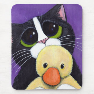 Scared Tuxedo Cat and Cuddly Duck Painting Mouse Mat