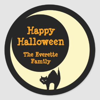Scaredly cat in yellow moon happy halloween favor round sticker