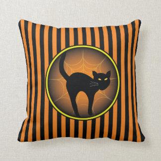 Scaredy Cat Halloween Throw Pillow