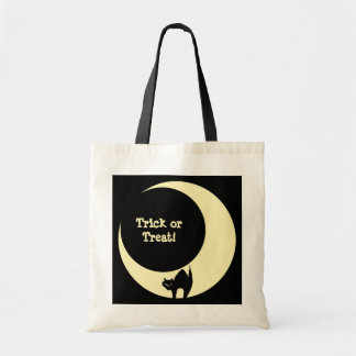 Scaredy cat in moon yellow Halloween candy loot Canvas Bags
