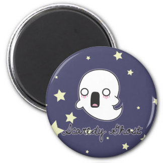 Scaredy Ghost 6 Cm Round Magnet