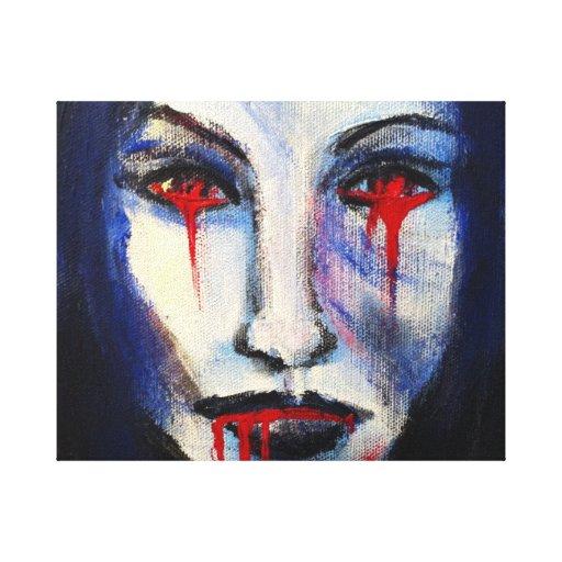 Scarey bleeding vampire picture canvas print