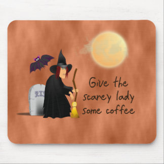 Scarey witch before coffee mousepad