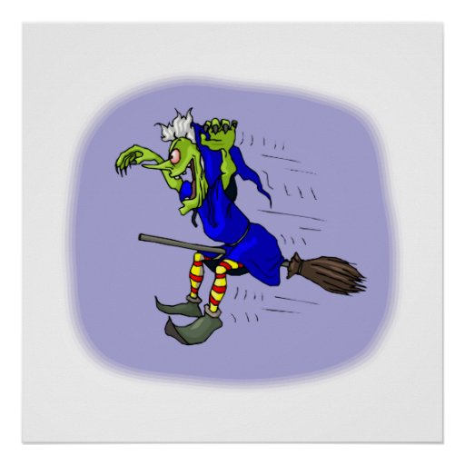 scarey witch on broom posters