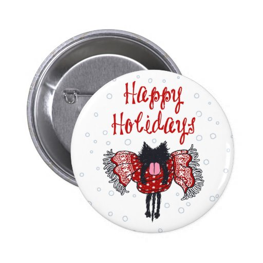 Scarf and Black Cat (Happy Holidays) Button