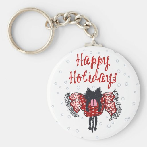 Scarf and Black Cat (Happy Holidays) Keychain