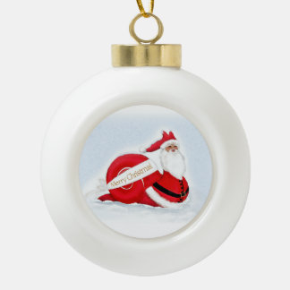 """S'cargot"" Snail Santa  Claus Ceramic Ball Christmas Ornament"