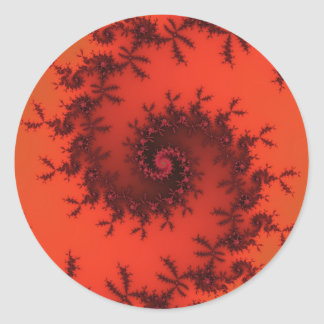 Scarlet and black spiral fractal. classic round sticker